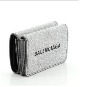 Balenciaga Silver Leather Coin Wallet